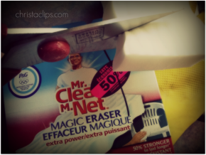 Get more out of your Mr. Clean Magic Erasers by cutting off a small portion for each use.