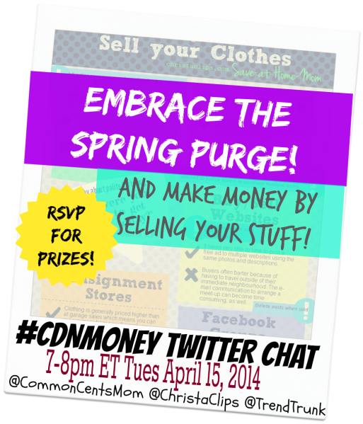 #CDNmoney Twitter Chat Embrace the Spring Purge Sell your Stuff by Christa Clips