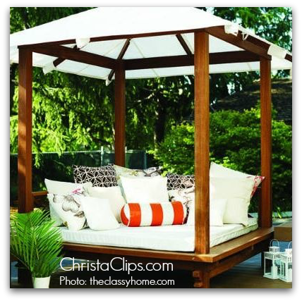 Adding a gazebo cover to the upcycled physio bed would make a budget friendly poolside Bali Bed!