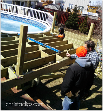 Our deck crew from FenceAll in Ottawa are clipping right along with our new sun deck!